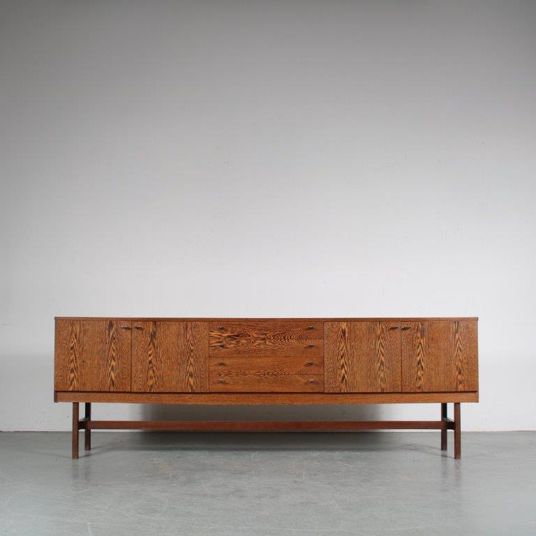 m25500 1960s Wengé wooden sideboard with chrome metal grips Netherlands