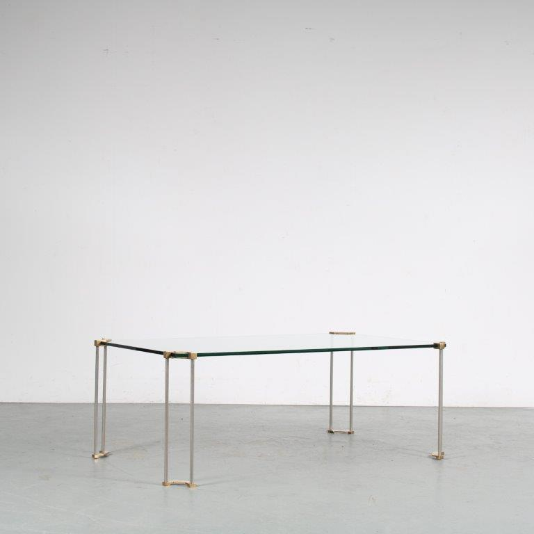 m25483 1970s Coffee table brass legs with glass top Peter Ghyzy Ghyczy / Netherlands
