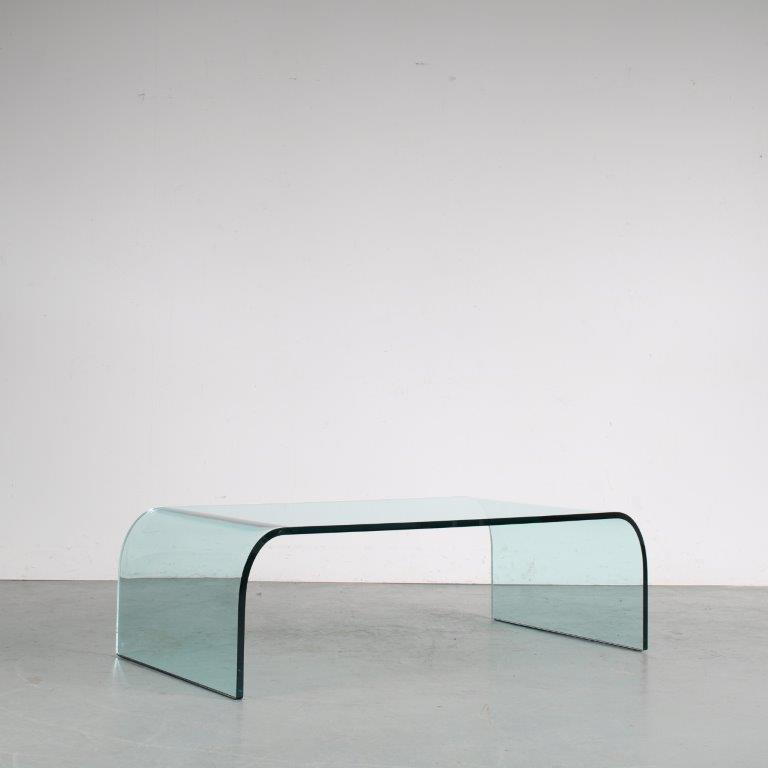m24872 1970s Molded thick crystal glass coffee table model Waterfall Angelo Cortesi Fiam / Italy