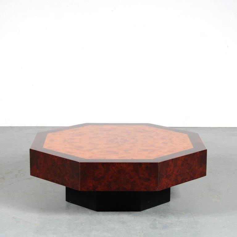 m25515 1970s Octagon burlwood coffee table France