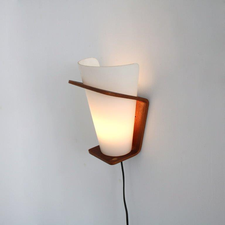 L4490 1950s White metal with plywood wall lamp and milk glass shade Louis Kalff Philips / Netherlands