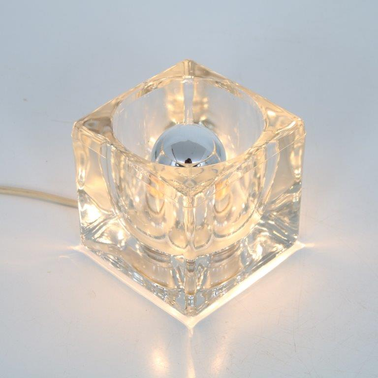 L4471 1960s Ice cube small glass table / bed lamp Putzler / Germany