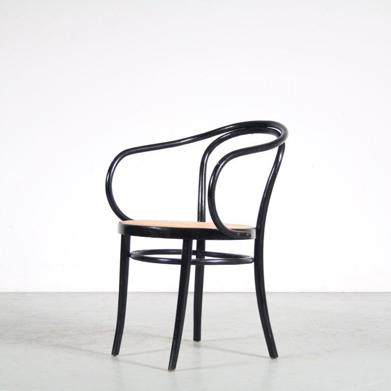 m25574 1940s Black wooden bentwood chair with webbing upholstery Commissioned Le Corbusier Thonet / France