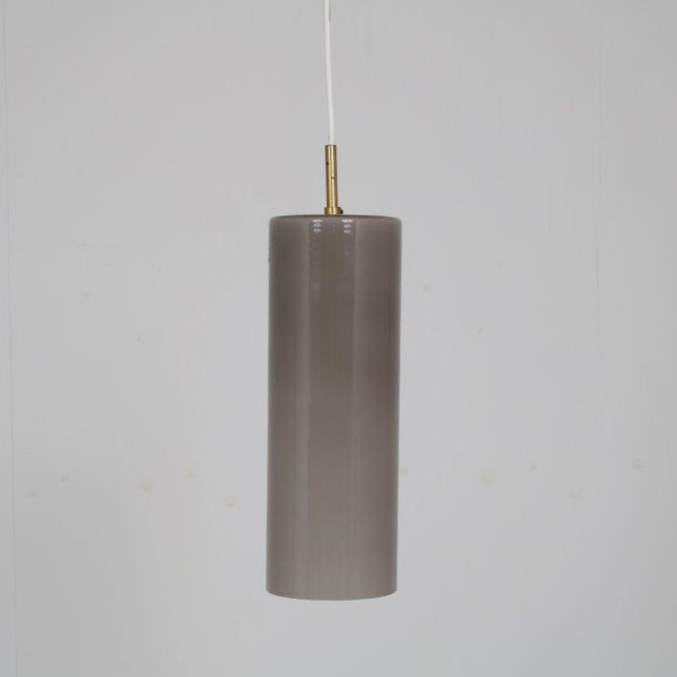 L4563 1960s Glass with brass cylinder shaped lamp in grey Gino Vistosi Venini / Italy