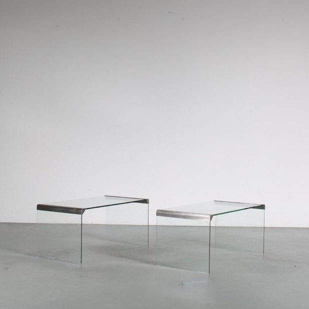 m25563 1970s Pair of rectangular glass side tables with chrome details Pierangelo Gallotti Gallotti & Radice / Italy