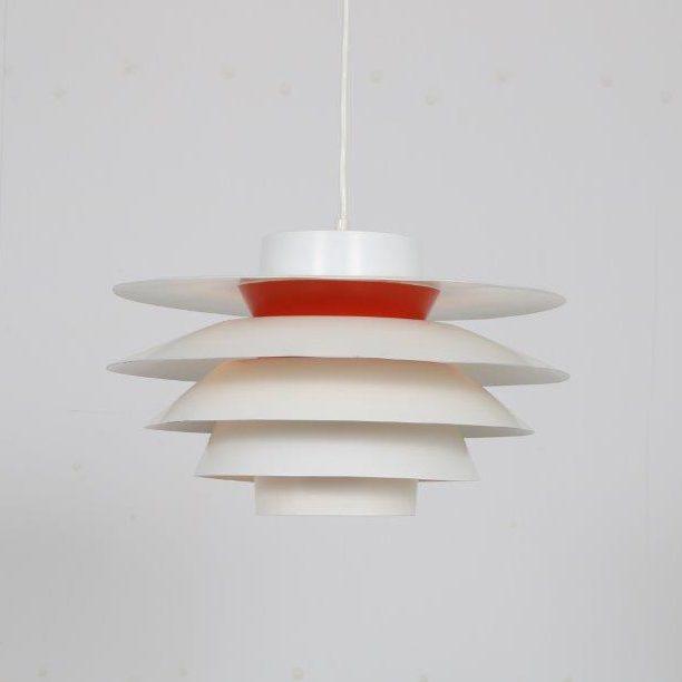 L4775 1960s White metal Scandinavian hanging lamp, model Verona Sven Middelboe Nordisk Solar / Denmark